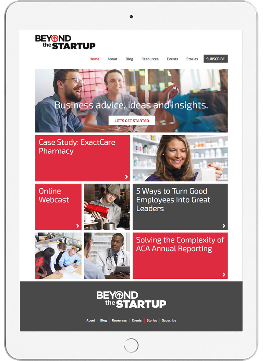 ADP Beyond the Startup Website on Tablet